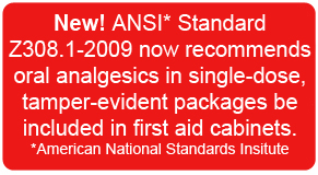 New ANSI Standard Z308.1-2003 now recommends oral analgesics in single-dose tamper-evident packages be included in first aid cabinets
